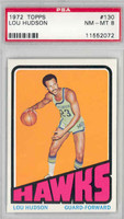 1972 Topps Basketball 130 Lou Hudson Atlanta Hawks PSA 8 Near Mint to Mint
