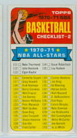 1970 Topps Basketball 101 Checklist Two Near-Mint Plus