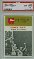 1961 Fleer Basketball 66 Jerry West IA Los Angeles Lakers PSA 8 OC