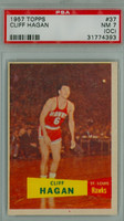 1957 Topps Basketball 37 Cliff Hagan ROOKIE Single Print St. Louis Hawks PSA 7 OC