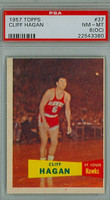 1957 Topps Basketball 37 Cliff Hagan ROOKIE Single Print St. Louis Hawks PSA 8 OC