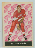 1961-62 Parkhurst Hockey 24 Len Lunde Detroit Red Wings Near-Mint Plus