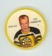 1961-62 Shiriff Hockey Coins 1 Cliff Pennington Boston Bruins Excellent to Mint