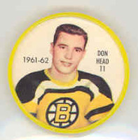1961-62 Shiriff Hockey Coins 11 Don Head Boston Bruins Near-Mint