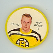 1961-62 Shiriff Hockey Coins 18 Autry Erickson Boston Bruins Excellent to Mint