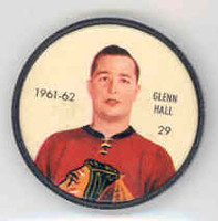 1961-62 Shiriff Hockey Coins 29 Glenn Hall Chicago Black Hawks Near-Mint