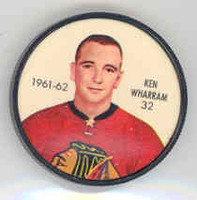 1961-62 Shiriff Hockey Coins 32 Ken Wharram Chicago Black Hawks Near-Mint