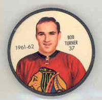 1961-62 Shiriff Hockey Coins 37 Bob Turner Chicago Black Hawks Near-Mint