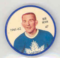 1961-62 Shiriff Hockey Coins 47 Bob Nevin Toronto Maple Leafs Near-Mint