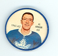 1961-62 Shiriff Hockey Coins 60 Al Arbour Toronto Maple Leafs Near-Mint Plus