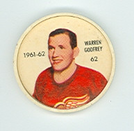 1961-62 Shiriff Hockey Coins 62 Warren Godfrey Detroit Red Wings Near-Mint Plus