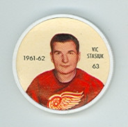 1961-62 Shiriff Hockey Coins 63 Vic Stasiuk Detroit Red Wings Excellent