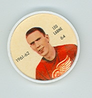1961-62 Shiriff Hockey Coins 64 Leo Labine Detroit Red Wings Excellent to Mint
