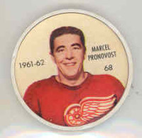 1961-62 Shiriff Hockey Coins 68 Marcel Pronovost Detroit Red Wings Near-Mint