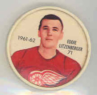 1961-62 Shiriff Hockey Coins 71 Ed Litzenberger Detroit Red Wings Near-Mint