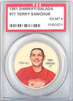 1961-62 Shiriff Hockey Coins 77 Terry Sawchuck Detroit Red Wings PSA 6 Excellent to Mint