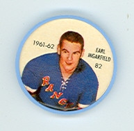 1961-62 Shiriff Hockey Coins 82 Earl Ingarfield New York Rangers Near-Mint Plus