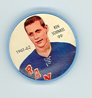 1961-62 Shiriff Hockey Coins 99 Ken Schinkel New York Rangers Excellent to Mint