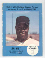 1968 Atlantic Oil Jim Hart San Francisco Giants Very Good to Excellent