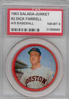1963 Salada Coins 2 Dick Farrell Houston Colts PSA 8 Near Mint to Mint