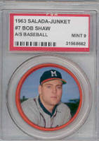 1963 Salada Coins 7 Bob Shaw Milwaukee Braves PSA 9 Mint