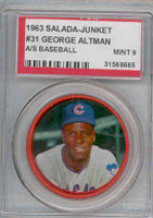 1963 Salada Coins 31 George Altman Chicago Cubs PSA 9 Mint