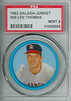1963 Salada Coins 59 Lee Thomas Los Angeles Angels PSA 9 Mint