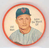 1962 Salada BB Coins 192 John DeMerit New York Mets Excellent to Mint
