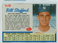 1962 Post Baseball 13 Bill Stafford New York Yankees Excellent