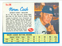 1962 Post Baseball 14 Norm Cash THR RIGHT  Detroit Tigers Excellent
