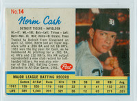 1962 Post Baseball 14 b Norm Cash THR LEFT  Detroit Tigers Very Good