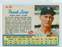 1962 Post Baseball 22 Frank Lary Detroit Tigers Very Good