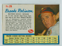 1962 Post Baseball 29 Brooks Robinson Baltimore Orioles Very Good to Excellent