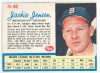 1962 Post Baseball 62 Jackie Jensen Boston Red Sox Excellent to Mint