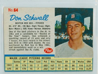 1962 Post Baseball 64 Don Schwall Boston Red Sox Excellent