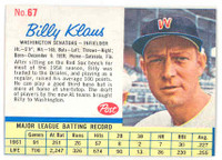 1962 Post Baseball 67 Billy Klaus Washington Senators Excellent to Mint