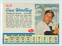 1962 Post Baseball 71 Gene Woodling Washington Senators Very Good