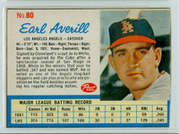 1962 Post Baseball 80 Earl Averill Los Angeles Angels Fair to Good