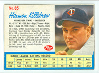 1962 Post Baseball 85 Harmon Killebrew Minnesota Twins Very Good