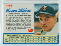 1962 Post Baseball 85 Harmon Killebrew Minnesota Twins Excellent