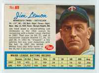 1962 Post Baseball 89 Jim Lemon Minnesota Twins Excellent to Mint
