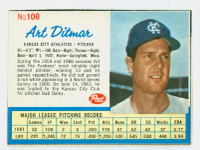1962 Post Baseball 100 Art Ditmar Kansas City Athletics Excellent to Mint