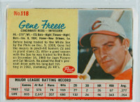 1962 Post Baseball 118 Gene Freese Cincinnati Reds Excellent