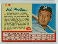 1962 Post Baseball 147 Ed Mathews Milwaukee Braves Excellent