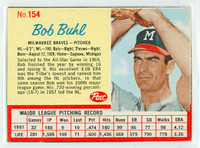 1962 Post Baseball 154 Bob Buhl Milwaukee Braves Excellent to Mint