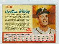 1962 Post Baseball 155 Carlton Willey Milwaukee Braves Very Good to Excellent