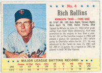 1963 Post Baseball 4 Rich Rollins Minnesota Twins Very Good to Excellent