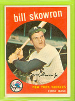 1959 Topps Baseball 90 Bill Skowron New York Yankees Excellent to Mint