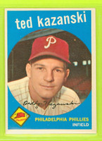 1959 Topps Baseball 99 Ted Kazanski Philadelphia Phillies Excellent to Mint