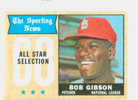 1968 Topps Baseball 378 Bob Gibson All-Star St. Louis Cardinals Very Good to Excellent